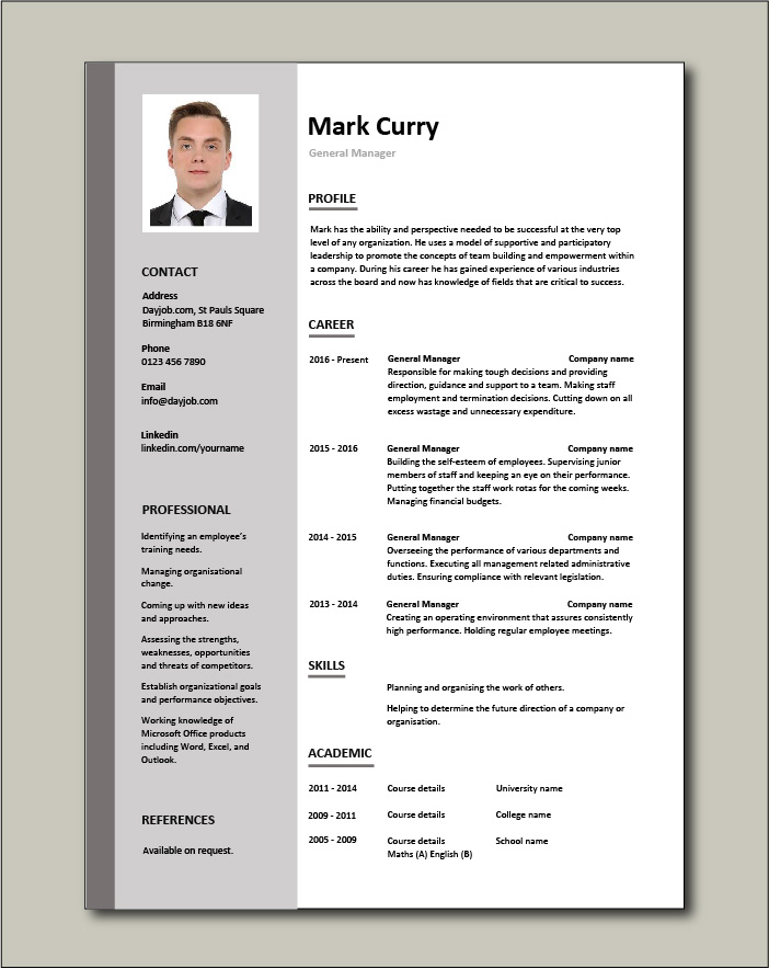 general manager cv sample responsible for daily operations and business performance Resume Hotel General Manager Resume Template