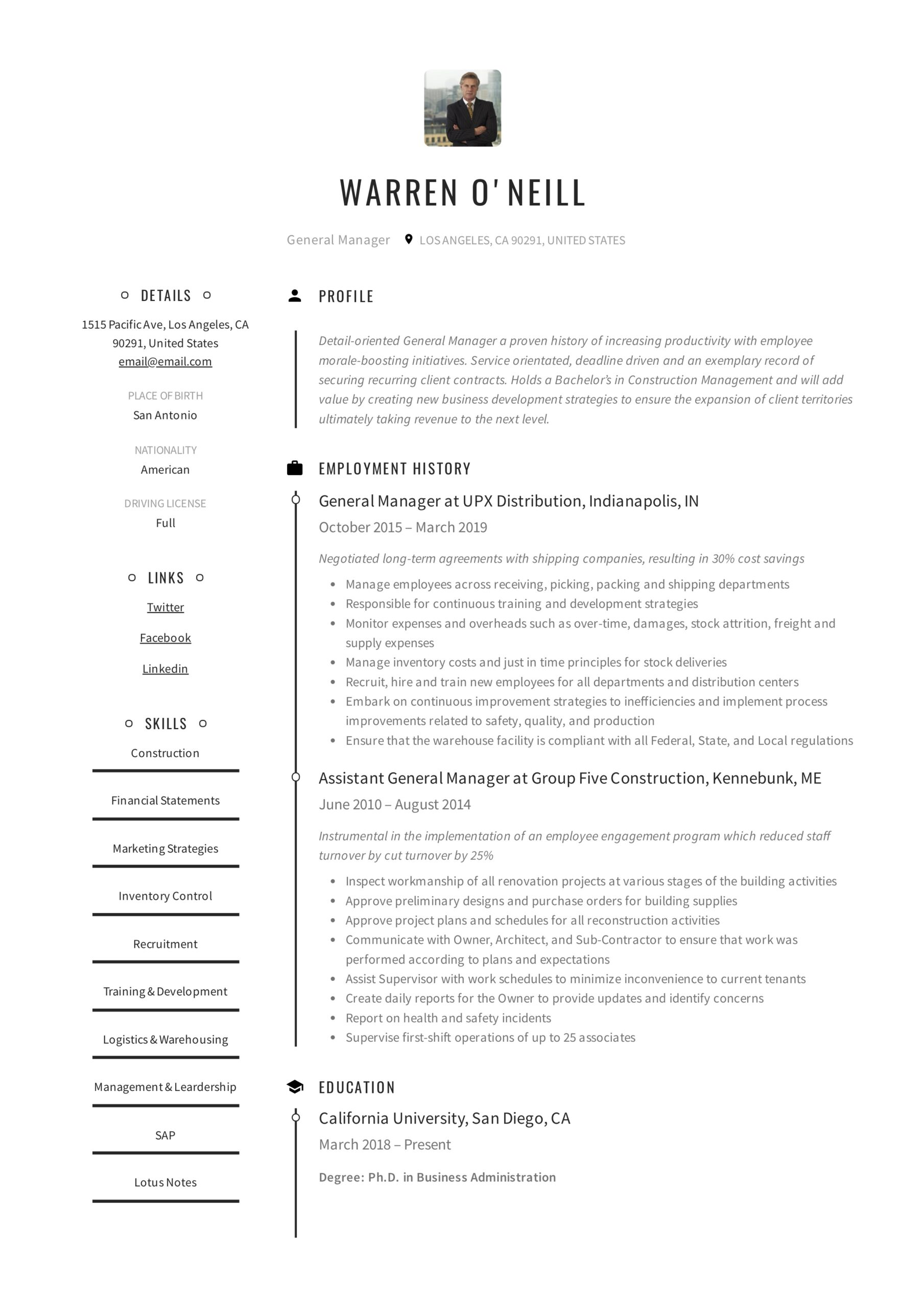 general manager resume writing guide examples pdf hotel template neill residential Resume Hotel General Manager Resume Template