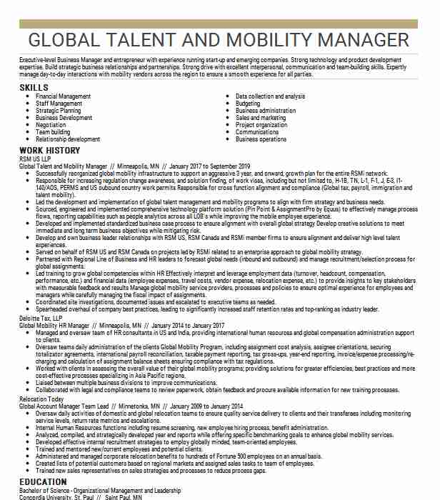 global mobility manager resume example pvh corp stockton new icons vector data science Resume Global Mobility Manager Resume