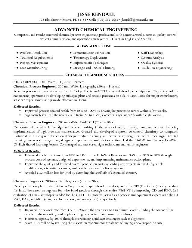 good chemical engineer resume examples professional templates engineering outline model Resume Chemical Engineer Resume Model