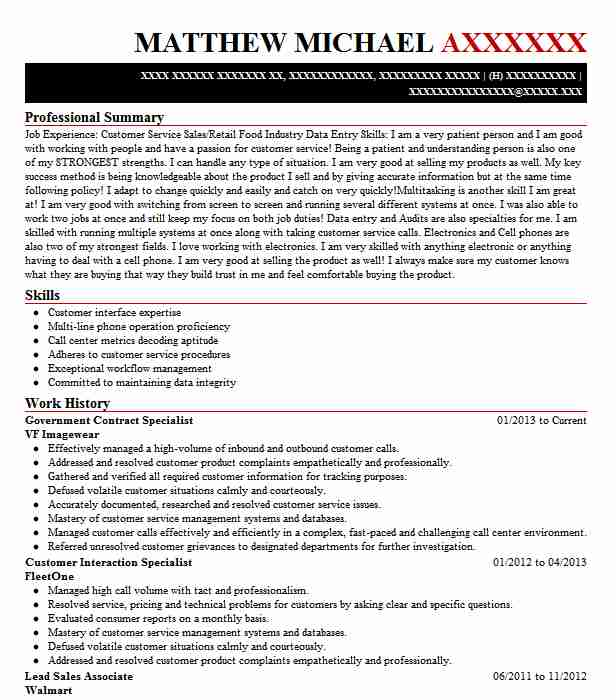 government contract specialist resume example livecareer federal cosmetology sample Resume Federal Government Contract Specialist Resume