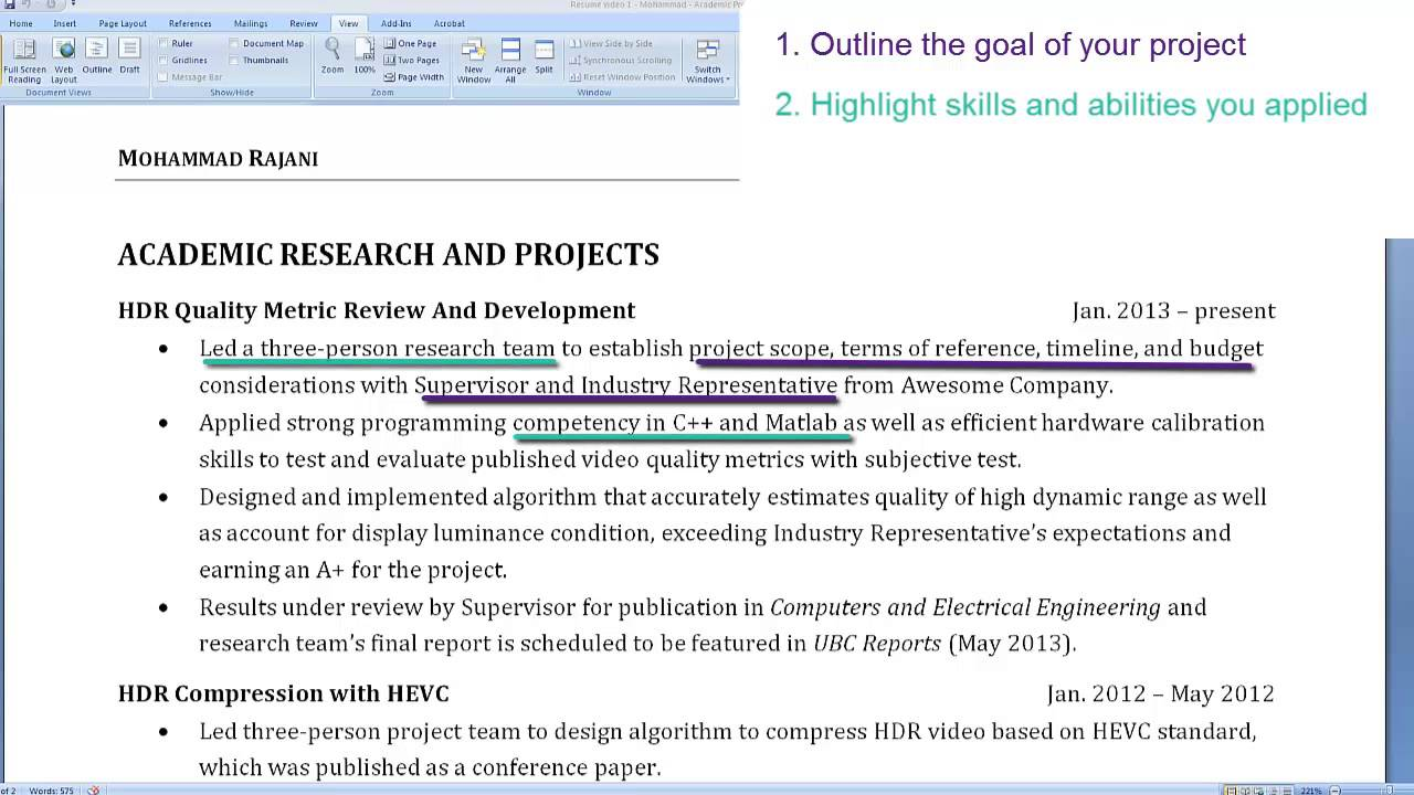 graduate student resumes highlighting an academic project school projects on resume Resume School Projects On Resume