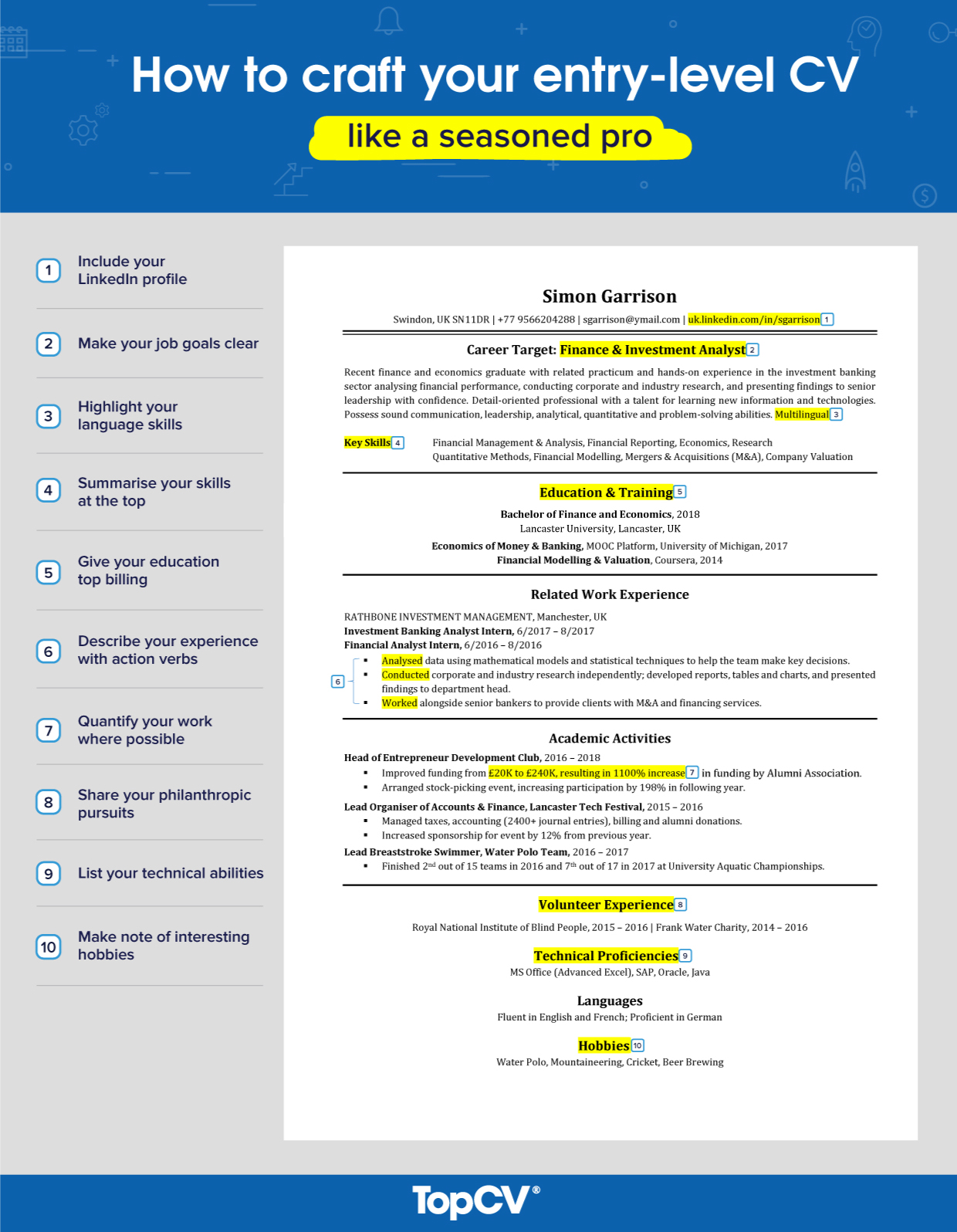 graduates to craft your first cv like seasoned pro with example topcv resume language Resume Resume With Language Skills Example