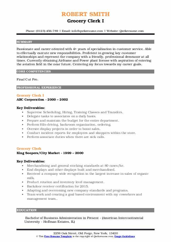 grocery clerk resume samples qwikresume sample pdf lms administrator examples for cpa Resume Grocery Clerk Resume Sample