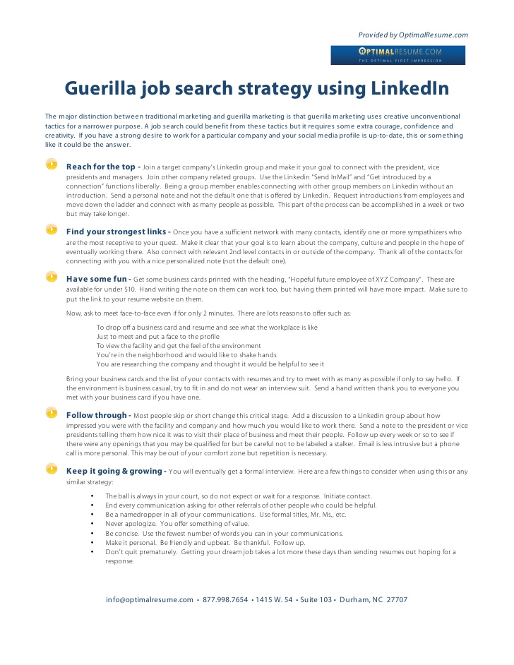 guerilla job search strategy using linkedin marketing resume jobsearch good format for Resume Guerilla Marketing Resume