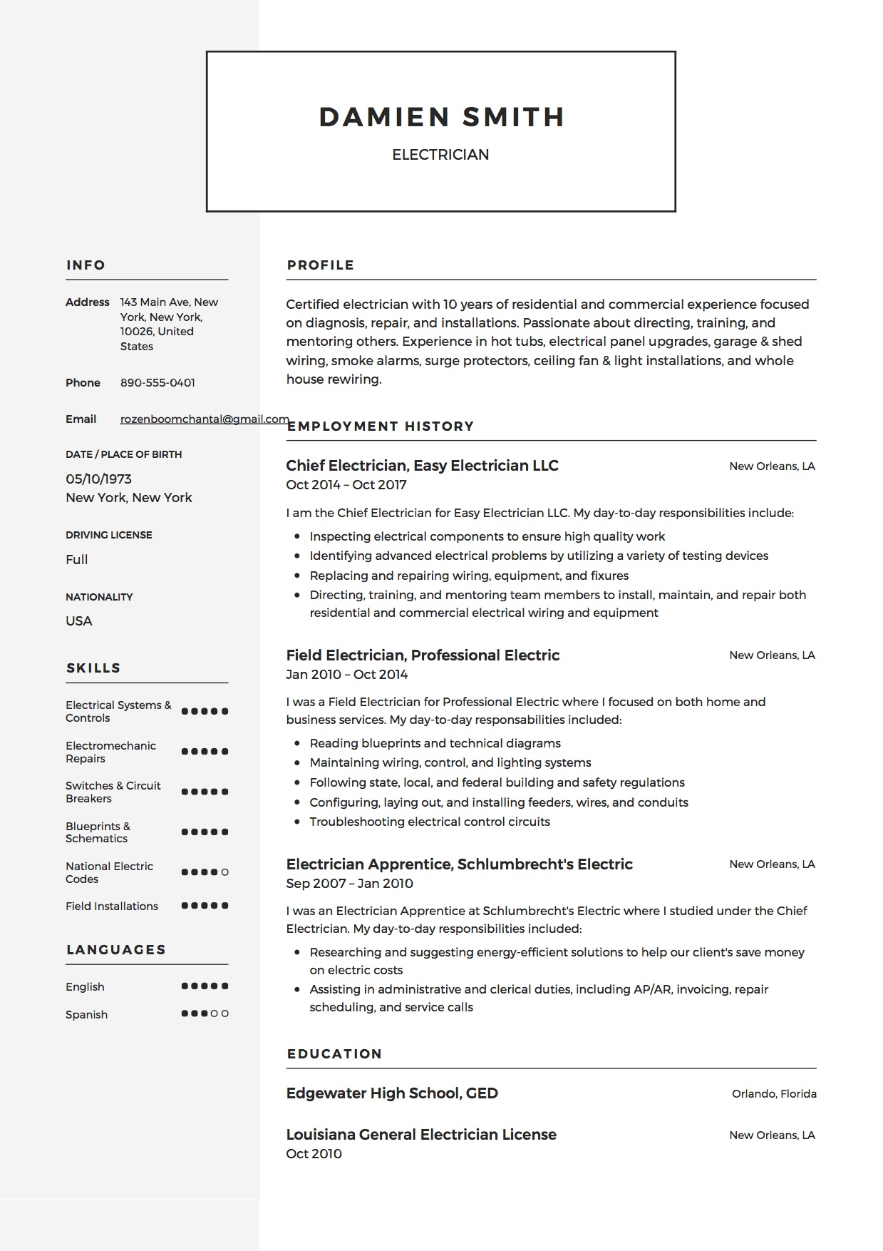 guide electrician resume samples examples pdf word template microsoft example national Resume Electrician Resume Template Microsoft Word