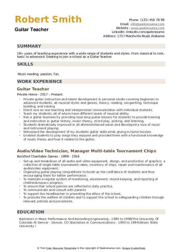 guitar teacher resume samples qwikresume private music pdf best format for first job copy Resume Private Music Teacher Resume