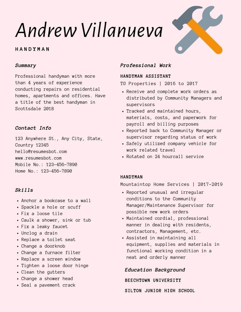 handyman resume samples templates pdf resumes bot examples template medical assistant Resume Handyman Resume Examples