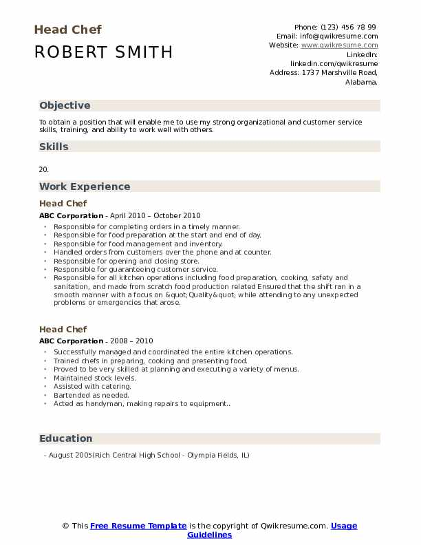 head chef resume samples qwikresume entry level culinary examples pdf objective on for Resume Entry Level Culinary Resume Examples