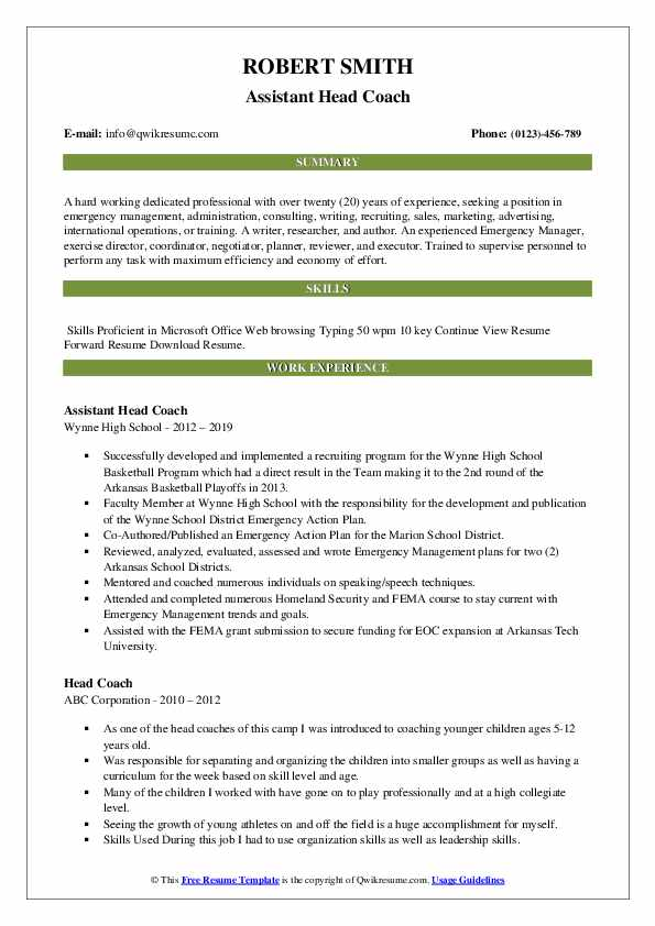 head coach resume samples qwikresume assistant volleyball pdf ballet dancer psw Resume Assistant Volleyball Coach Resume