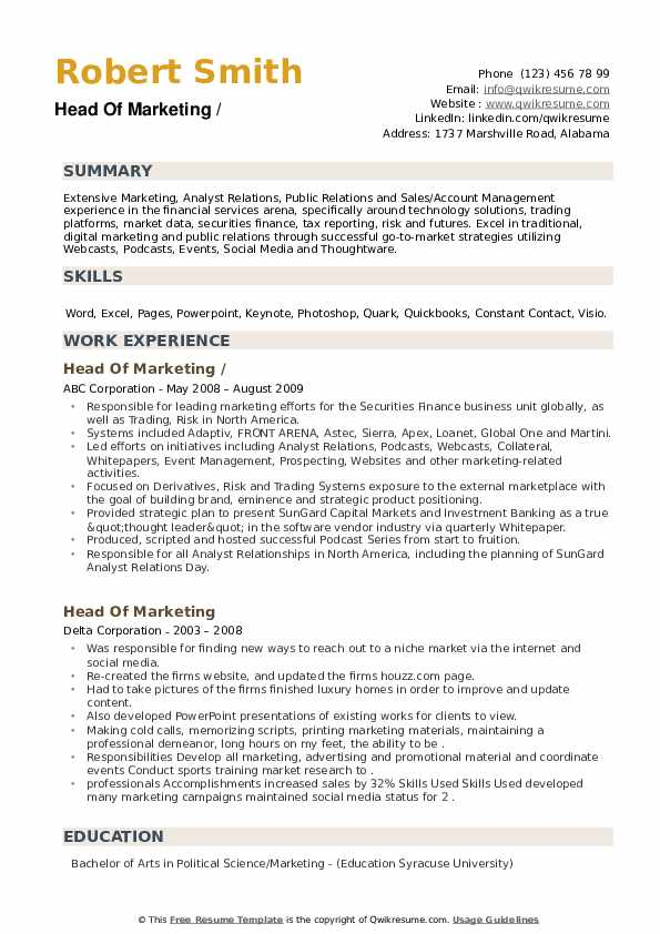 head of marketing resume samples qwikresume chicago booth template pdf difference between Resume Chicago Booth Resume Template