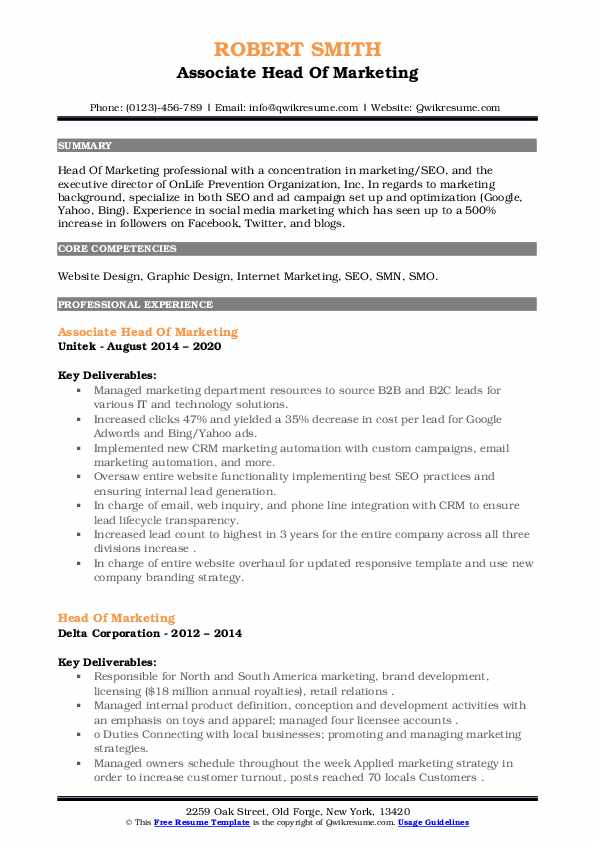 head of marketing resume samples qwikresume chicago booth template pdf handyman Resume Chicago Booth Resume Template