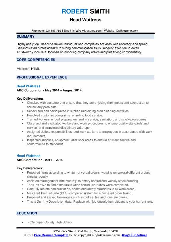 head waitress resume samples qwikresume skills for on pdf the position general manager Resume Skills For Waitress On Resume