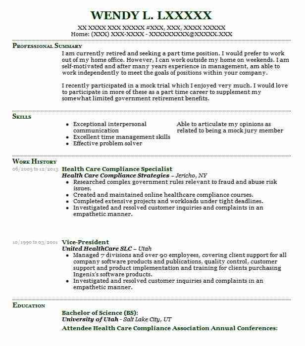 health care compliance officer resume example new specialist putting self employment on Resume Compliance Specialist Resume