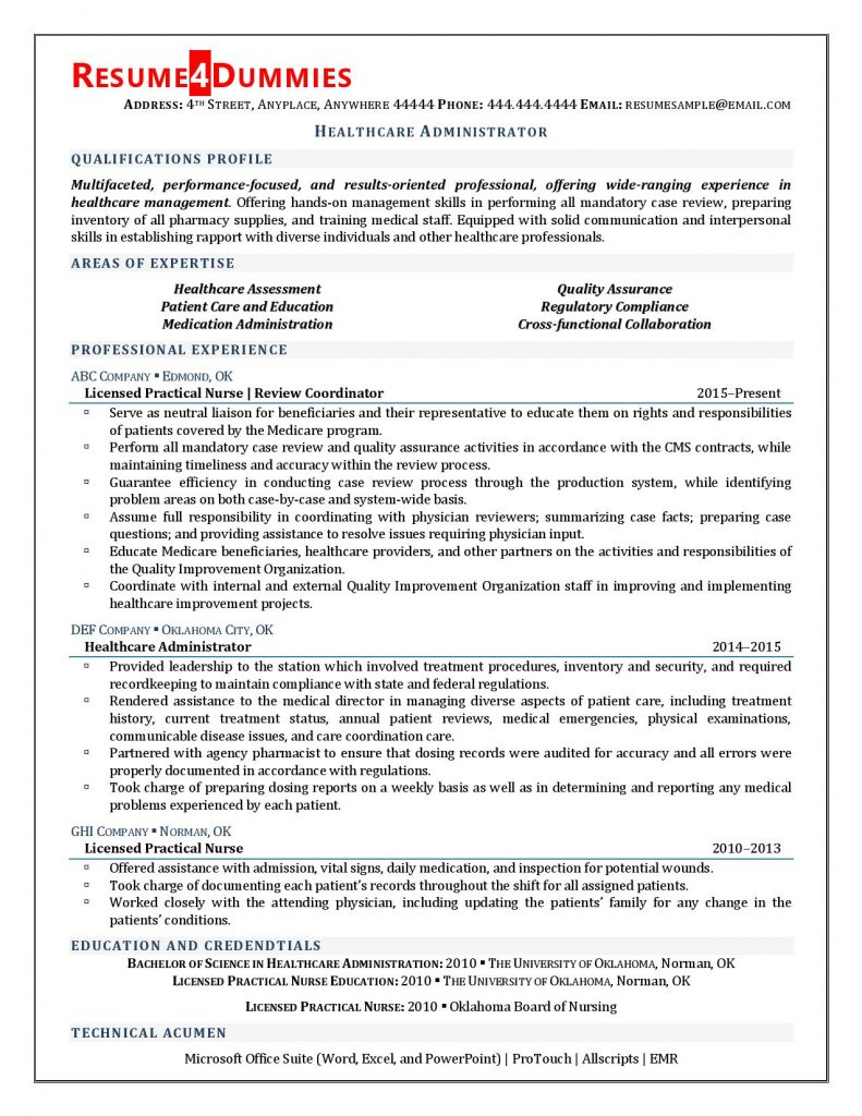 healthcare administrator resume examples sample management 791x1024 objective on for Resume Healthcare Management Resume