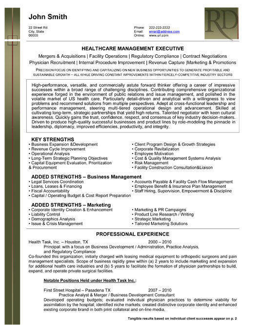 healthcare management resume sample template executive health care cover letter examples Resume Healthcare Management Resume