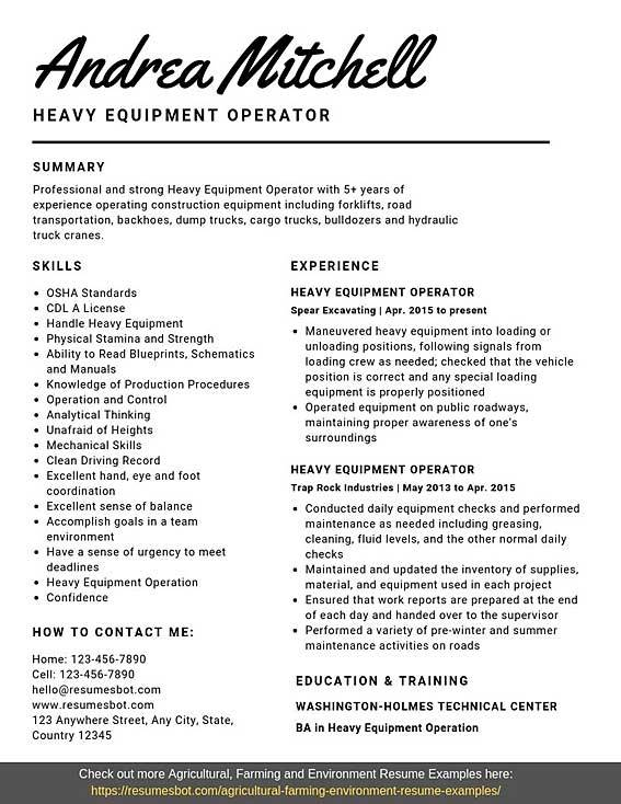 heavy equipment operator resume samples templates pdf word resumes bot activities example Resume Activities Resume Samples