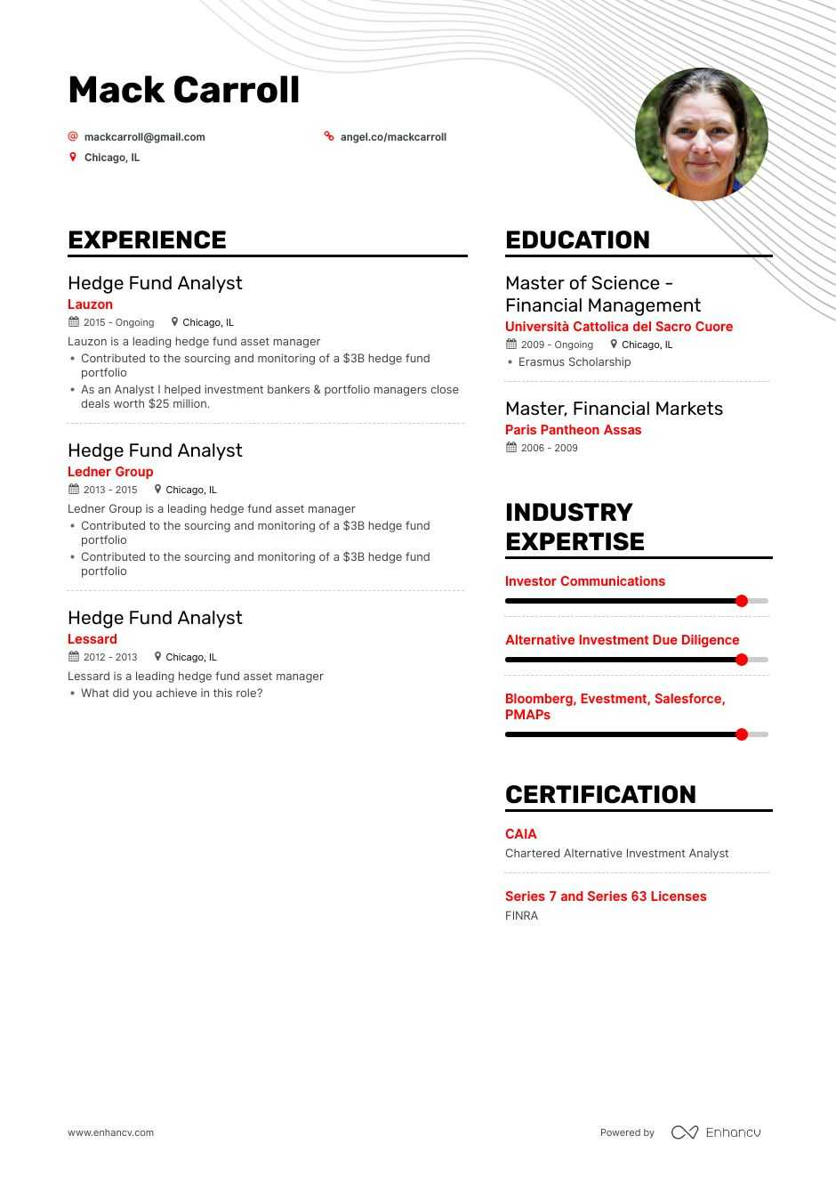 hedge fund analyst resume example for enhancv investment makeup artist sample oncology Resume Investment Analyst Resume