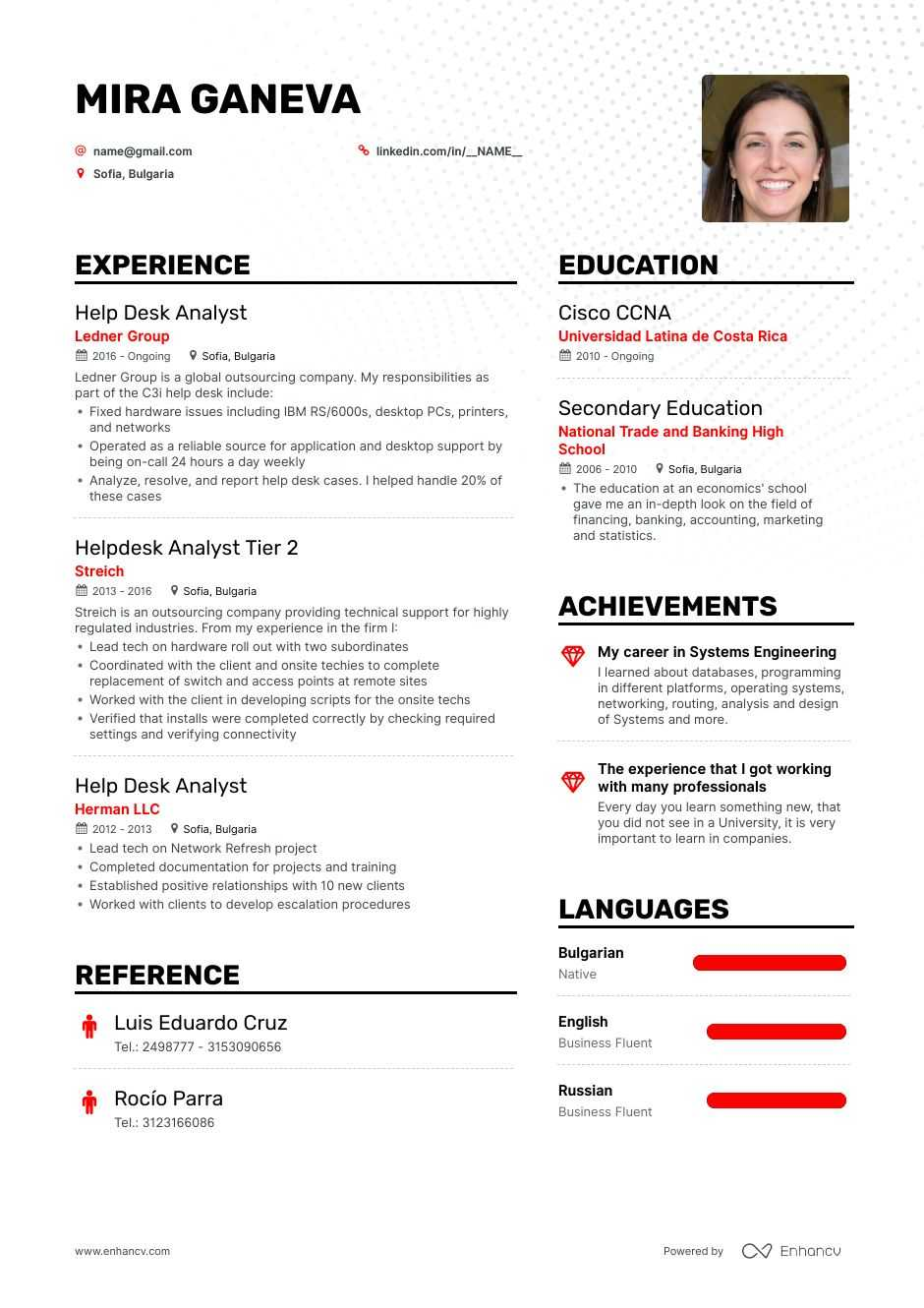 help desk analyst resume examples guide pro tips enhancv sample office support assistant Resume Help Desk Resume Sample