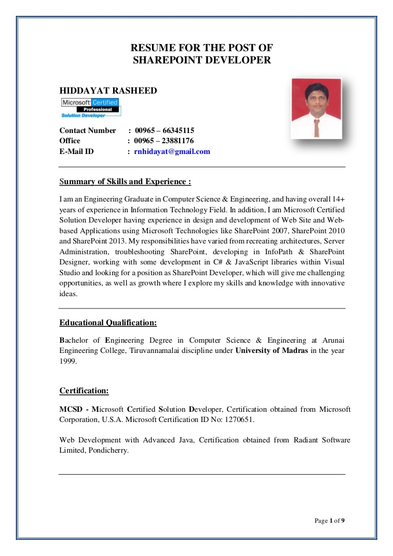 hiddayat resume sharepoint developer experience on thumbnail compliance specialist Resume Sharepoint Experience On Resume