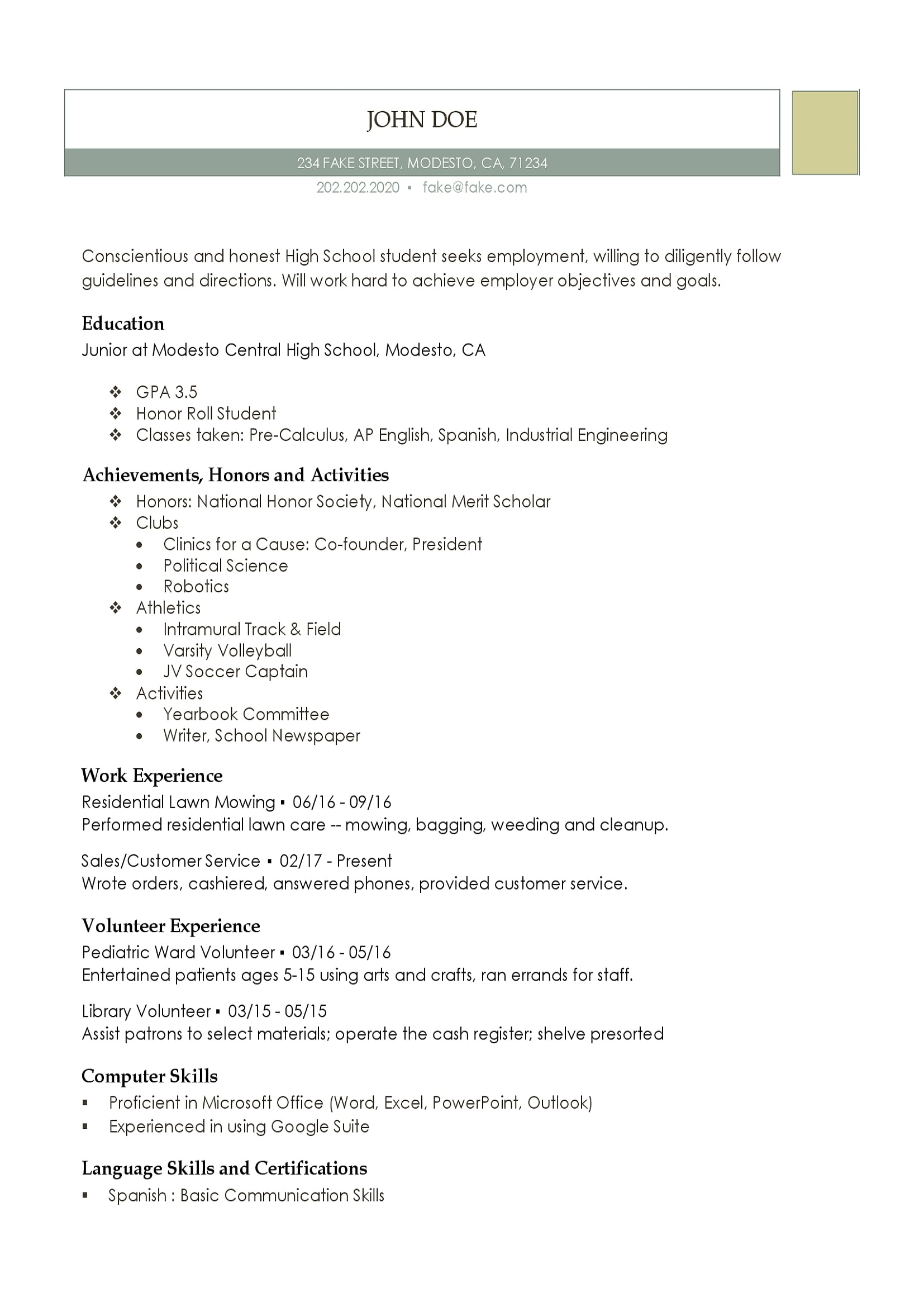high school resume templates for students and teens job computer lab assistant Resume A Job Resume For High School Students