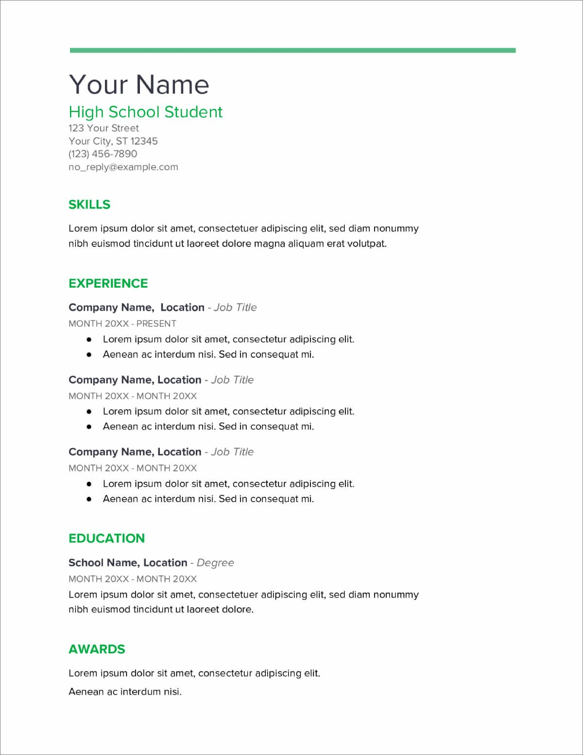 high school resume templates now job for students center manager sample lyft driver Resume A Job Resume For High School Students