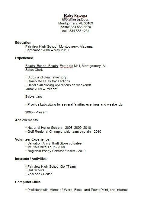 high school student resume examples first job business template for pertaining to stud Resume Job Resume Outline For High School Students