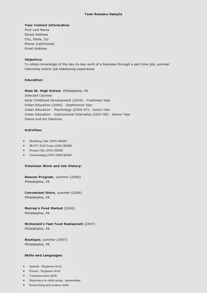 high school student resume examples teenager first job summer teen sample page0001 Resume High School Student Summer Job Resume Examples