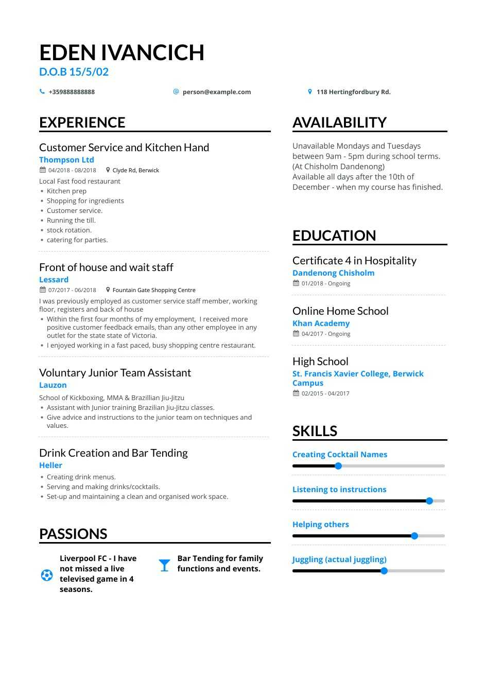 high school teen resume examples pro tips featured enhancv availability example for teens Resume Availability Resume Example