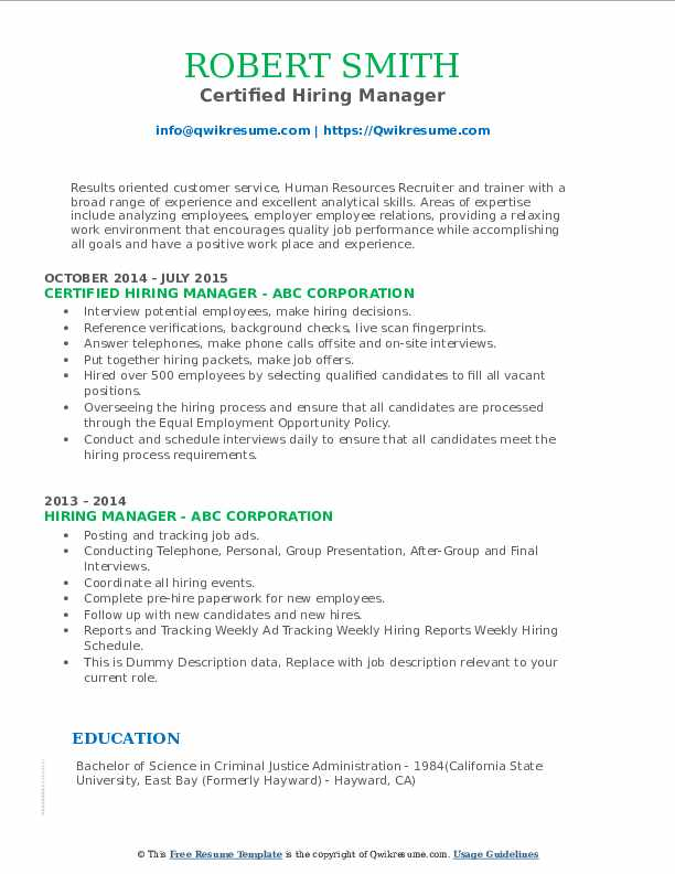 hiring manager resume samples qwikresume job description for pdf writing examples shift Resume Hiring Manager Job Description For Resume