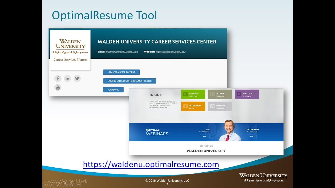 home career services resources for field experience academic guides at walden university Resume Optimal Resume University Of Toledo