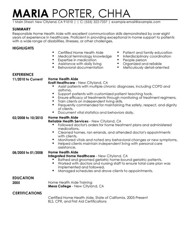 home health aide resume examples free to try today myperfectresume first aid sample Resume First Aid Resume Sample