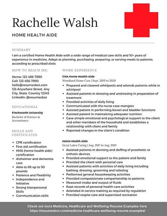 home health aide resume samples templates pdf resumes bot first aid sample example fake Resume First Aid Resume Sample