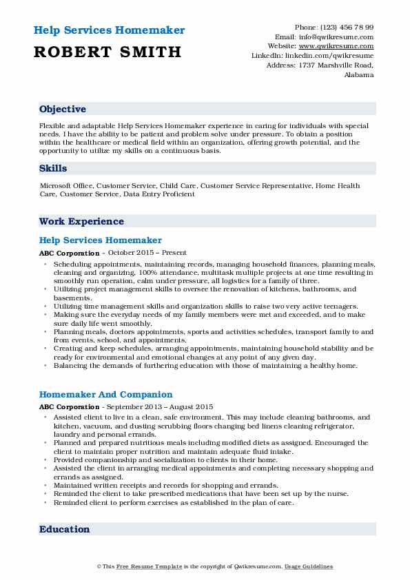homemaker resume samples qwikresume housewife duties for pdf free template with sidebar Resume Housewife Duties For Resume