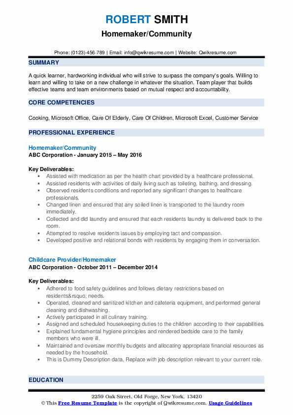 homemaker resume samples qwikresume housewife duties for pdf medical field free template Resume Housewife Duties For Resume