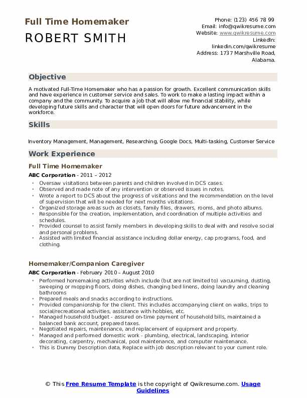 homemaker resume samples qwikresume housewife duties for pdf professional colors bus Resume Housewife Duties For Resume