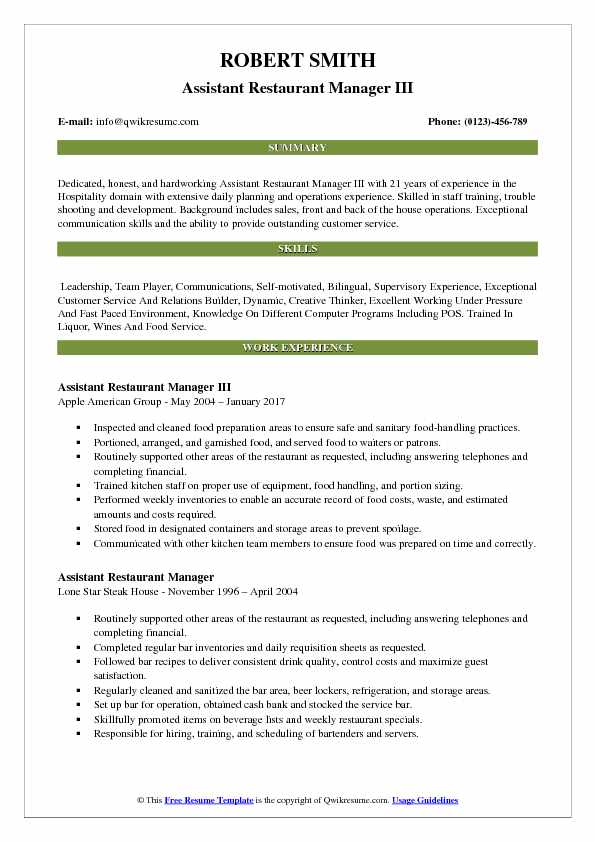 hospitality resume samples examples and tips assistant restaurant manager pdf good Resume Hospitality Resume Samples