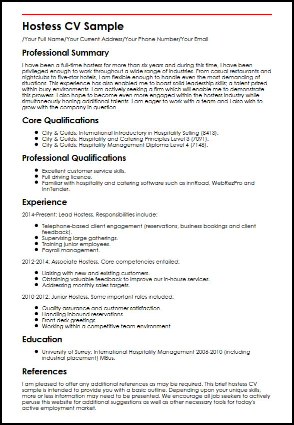 hostess cv example myperfectcv resume description sample free emt templates points for Resume Hostess Resume Description