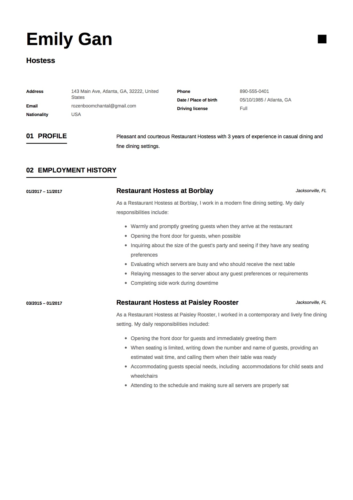 hostess resume guide examples free downloads duties of for emily gan template lvn Resume Duties Of A Hostess For A Resume