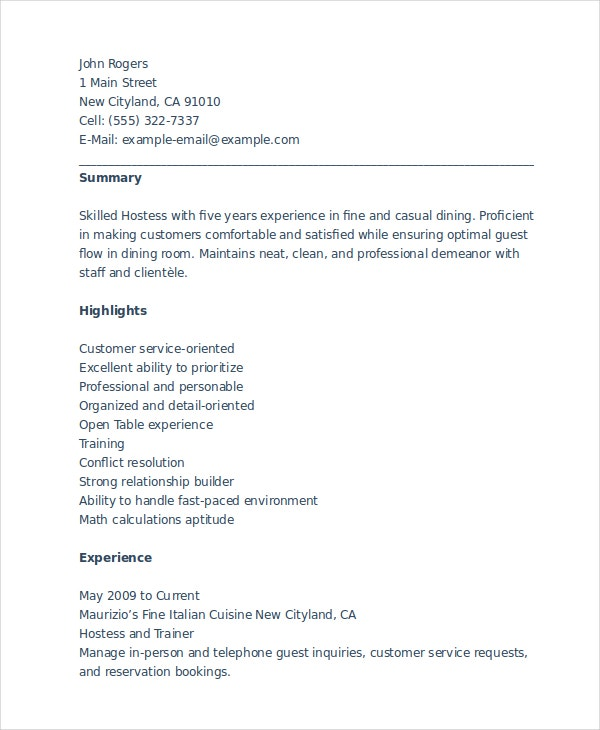 hostess resume templates pdf free premium description recipe template restaurant manager Resume Hostess Resume Description