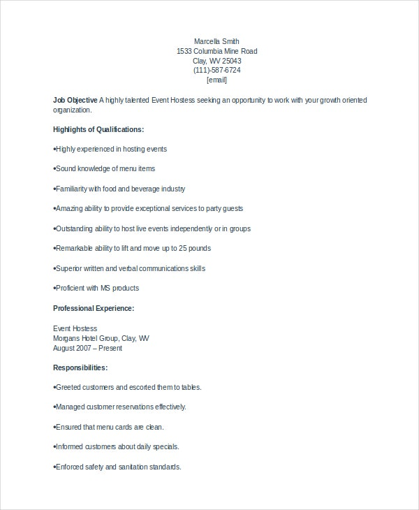 hostess resume templates pdf free premium description sample template operations manager Resume Hostess Resume Description