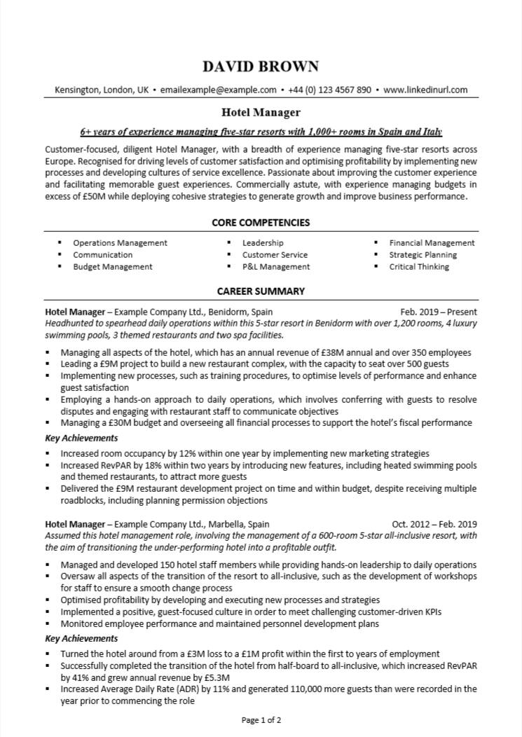 hotel management cv example helpful writing guide nation manager resume word format Resume Hotel Manager Resume Word Format