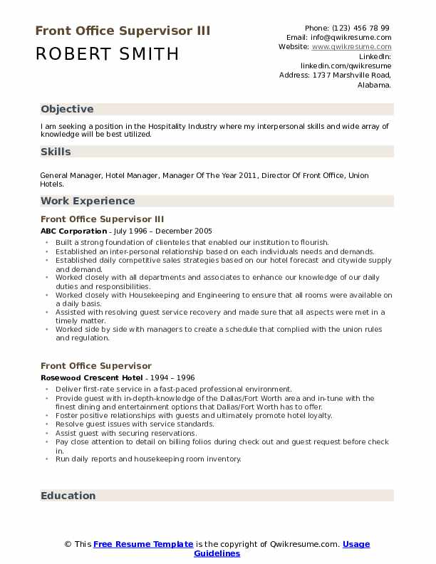 hotel manager resume samples qwikresume general template front office supervisor pdf Resume Hotel General Manager Resume Template