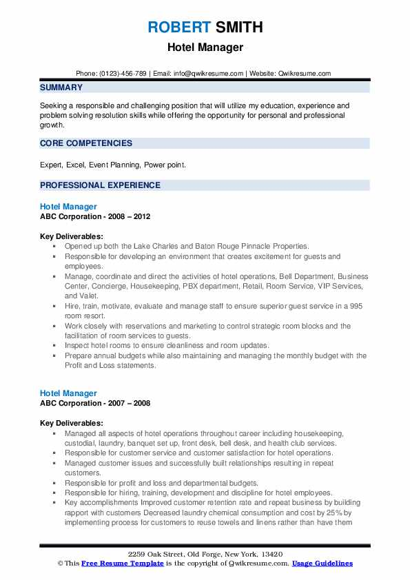 management resume template general manager premium samples project administrative Resume Hotel General Manager Resume Template