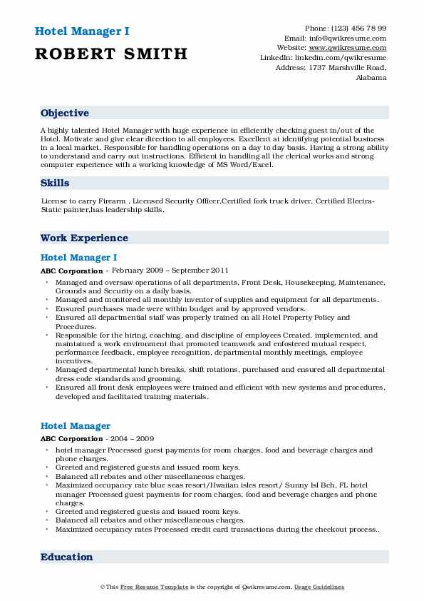 hotel manager resume samples qwikresume word format pdf telecom engineer experience Resume Hotel Manager Resume Word Format