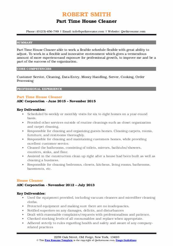 house cleaner resume samples qwikresume cleaning experience pdf starbucks barista Resume House Cleaning Experience Resume