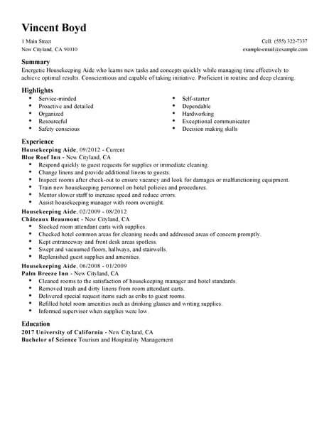 housekeeping aide resume example no experience resumes livecareer hospital skills hotel Resume Hospital Housekeeping Resume Skills