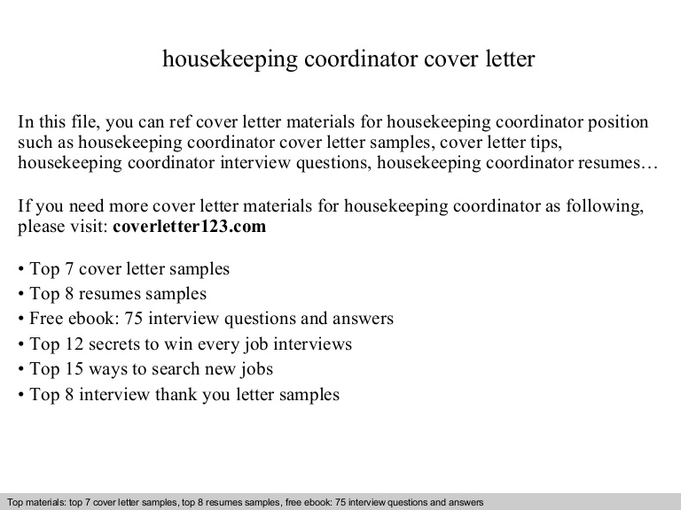 housekeeping coordinator cover letter billeting resume housekeepingcoordinatorcoverletter Resume Billeting Coordinator Resume