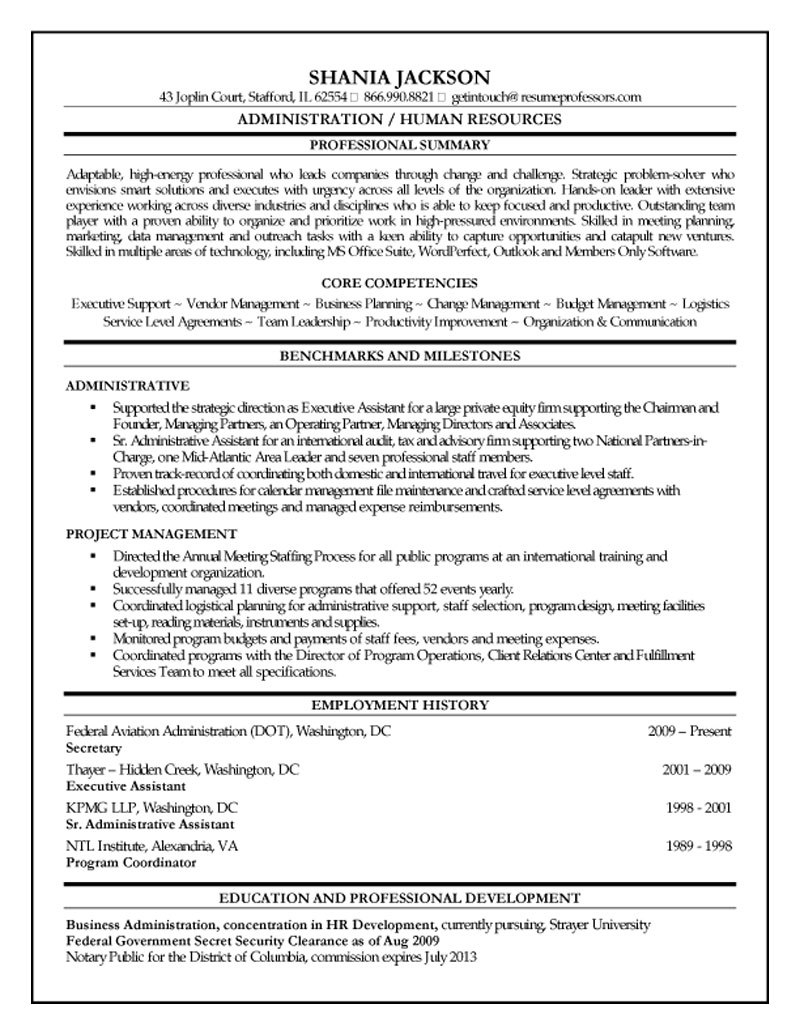 hr administrator resume administrative summary examples shania professors admin assistant Resume Administrative Resume Summary Examples