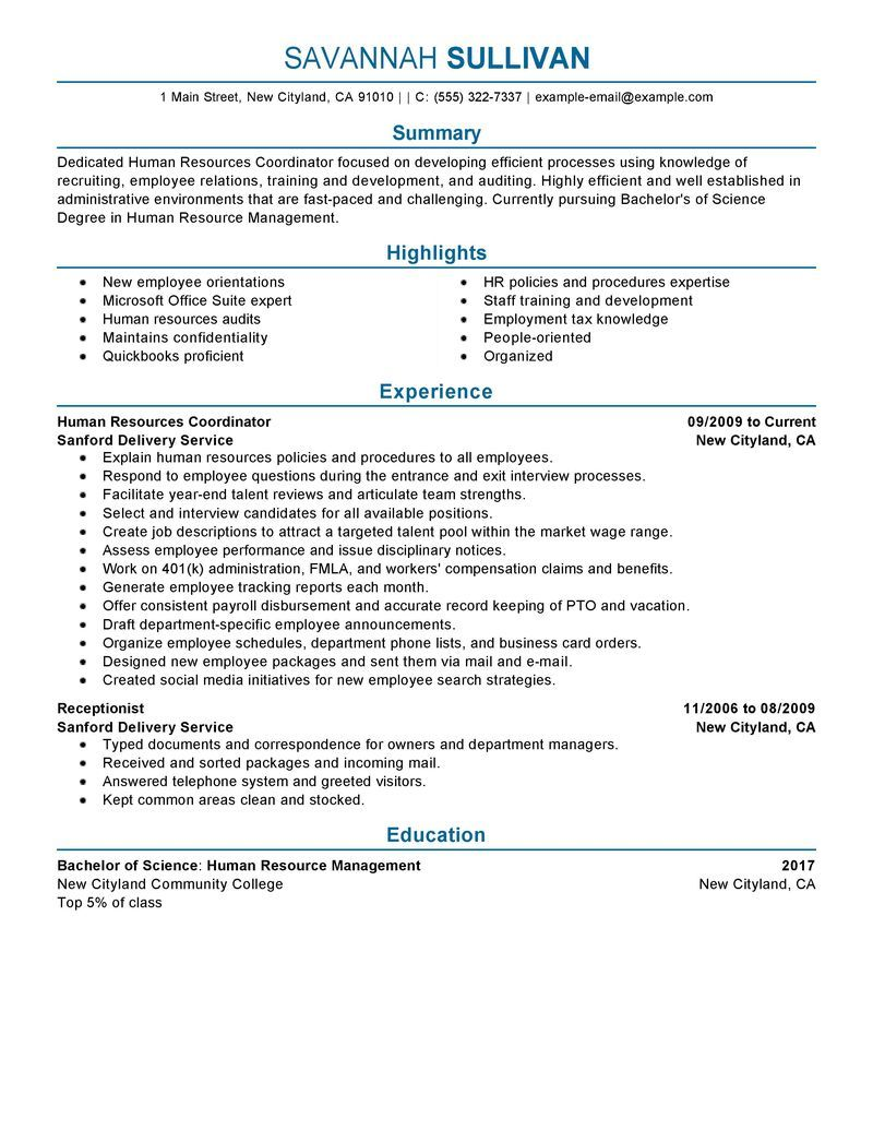 hr coordinator resume example human resources sample resumes livecareer good examples Resume Training Coordinator Resume Example Sample